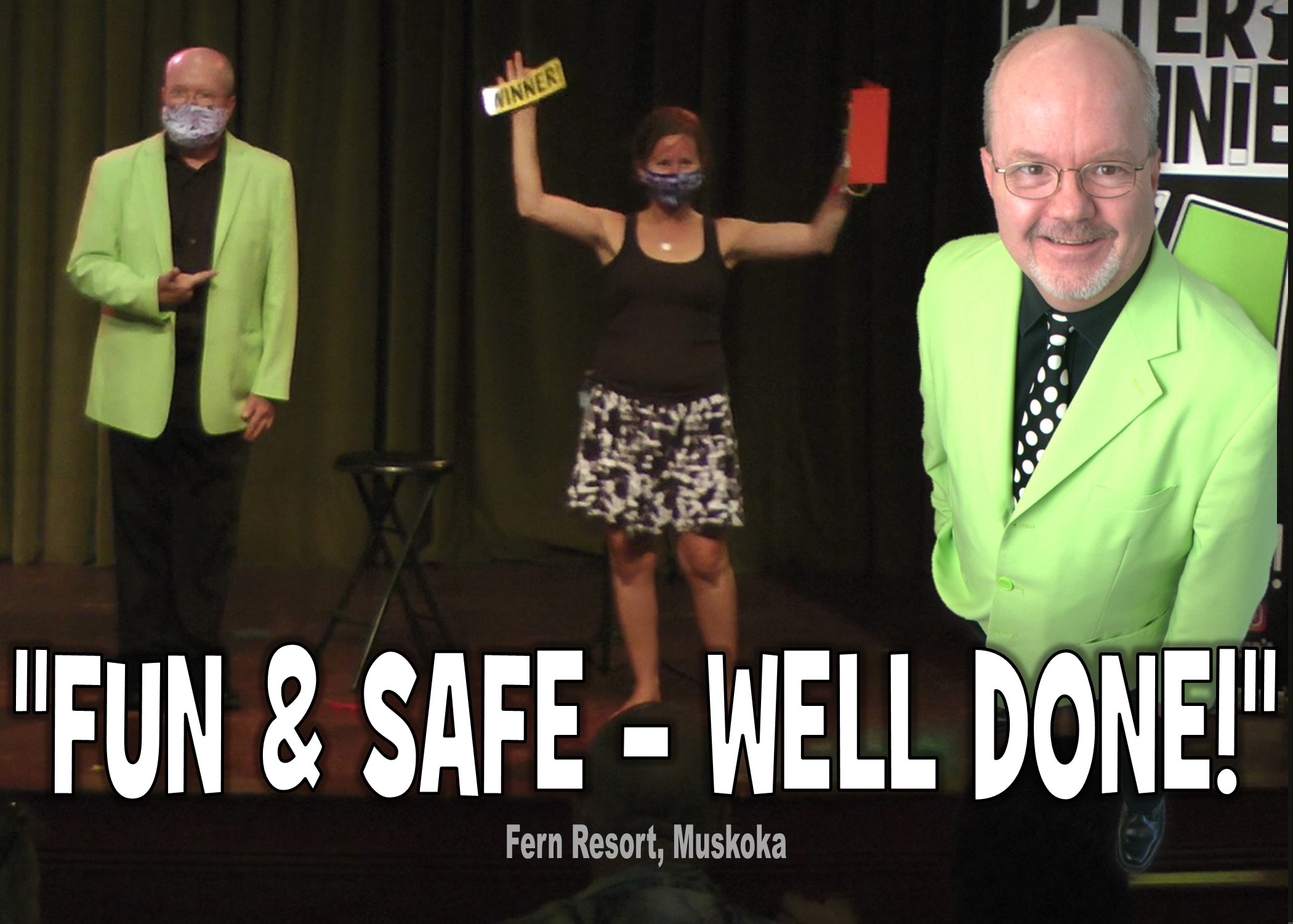 covid safe distance face mask magic show